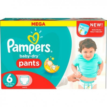 Pack 69 Couches Pampers Baby Dry Pants taille 6 sur 123 Couches