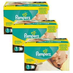Pack jumeaux 672 Couches Pampers New Baby Premium Protection taille 1 sur 123 Couches