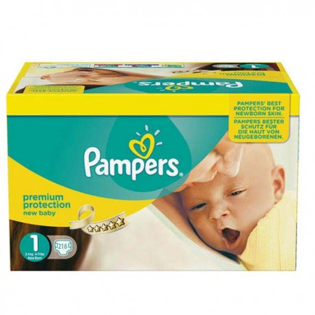 Pack jumeaux 768 Couches Pampers New Baby Premium Protection taille 1 sur 123 Couches