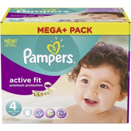 Pack jumeaux 1008 Couches Pampers Active Fit Premium Protection taille 4 sur 123 Couches