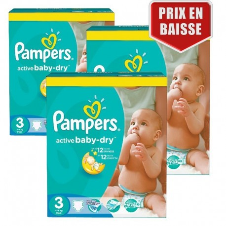 Pack jumeaux 574 Couches Pampers Active Baby Dry taille 3 sur 123 Couches