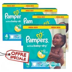 Pack jumeaux 840 Couches Pampers Active Baby Dry taille 4 sur 123 Couches
