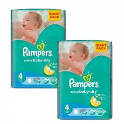 Pack jumeaux 910 Couches Pampers Active Baby Dry taille 4 sur 123 Couches