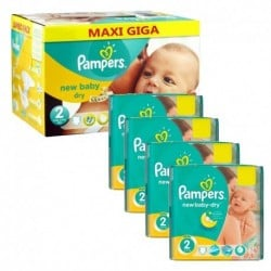 Pack jumeaux 864 Couches Pampers New Baby Dry taille 2