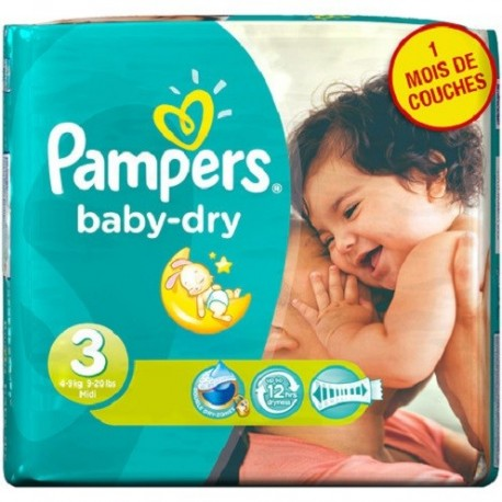 Mega pack 116 Couches Pampers Baby Dry taille 3 sur 123 Couches