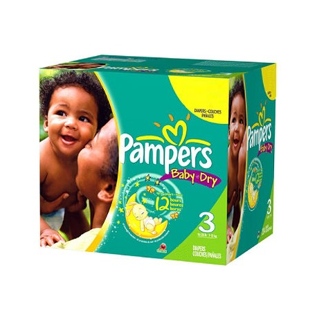 Pack jumeaux 812 Couches Pampers Baby Dry taille 3 sur 123 Couches