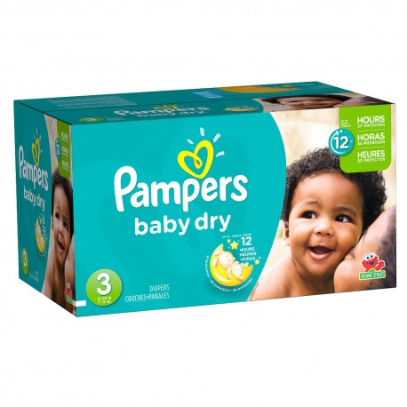 Pack jumeaux 1044 Couches Pampers Baby Dry taille 3 sur 123 Couches