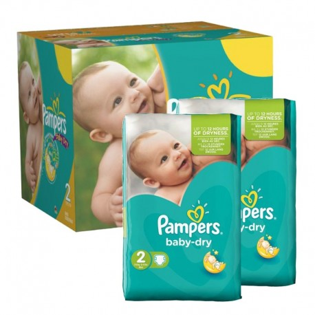 Pack jumeaux 522 Couches Pampers Baby Dry taille 2 sur 123 Couches