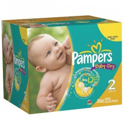 Pack jumeaux 696 Couches Pampers Baby Dry taille 2 sur 123 Couches