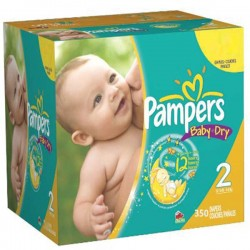 Pack jumeaux 754 Couches Pampers Baby Dry taille 2 sur 123 Couches