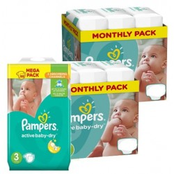 Pack 90 Couches Pampers Active Baby Dry taille 3 sur 123 Couches