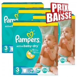 Mega pack 105 Couches Pampers Active Baby Dry taille 3 sur 123 Couches
