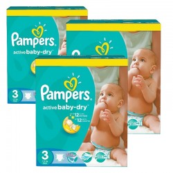 Mega pack 120 Couches Pampers Active Baby Dry taille 3 sur 123 Couches