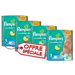 Mega pack 180 Couches Pampers Active Baby Dry taille 3