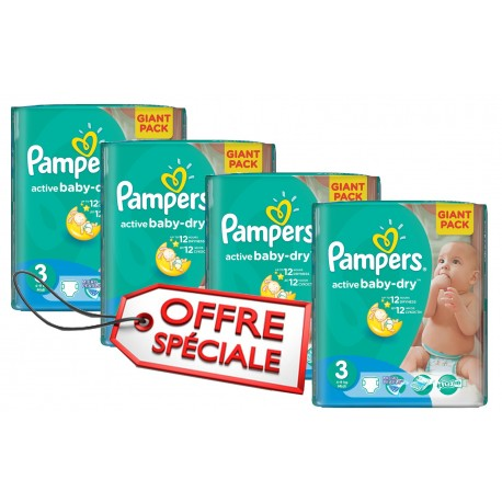 Mega pack 180 Couches Pampers Active Baby Dry taille 3 sur 123 Couches