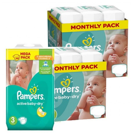 Mega pack 195 Couches Pampers Active Baby Dry taille 3 sur 123 Couches