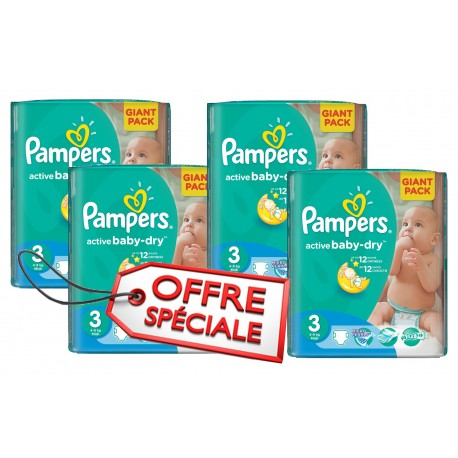 Giga pack 225 Couches Pampers Active Baby Dry taille 3 sur 123 Couches