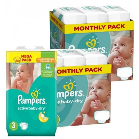 Giga pack 240 Couches Pampers Active Baby Dry taille 3 sur 123 Couches