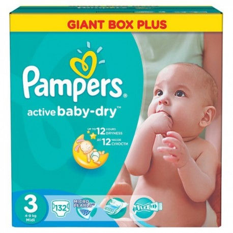 Maxi giga pack 300 Couches Pampers Active Baby Dry taille 3 sur 123 Couches