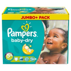 Pack jumeaux 504 Couches Pampers Baby Dry taille 5+ sur 123 Couches
