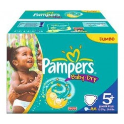 Pack jumeaux 756 Couches Pampers Baby Dry taille 5+ sur 123 Couches