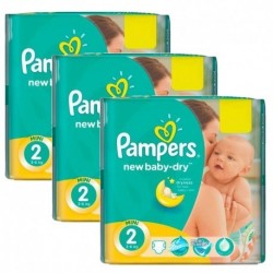 Pack jumeaux 1152 Couches Pampers New Baby Dry taille 2