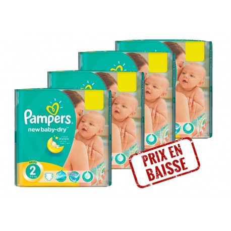 Pack jumeaux 1296 Couches Pampers New Baby Dry taille 2 sur 123 Couches