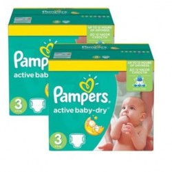 Pack jumeaux 1020 Couches Pampers Active Baby Dry taille 3 sur 123 Couches