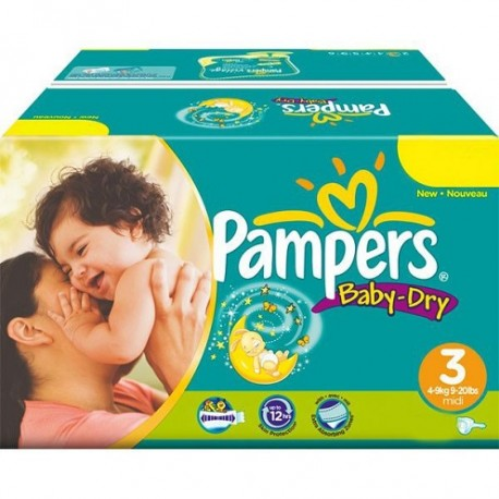Pack jumeaux 1160 Couches Pampers Baby Dry taille 3 sur 123 Couches