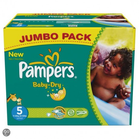 Mega pack 152 Couches Pampers Baby Dry taille 5 sur 123 Couches