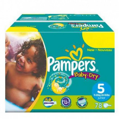 Maxi giga pack 304 Couches Pampers Baby Dry taille 5 sur 123 Couches