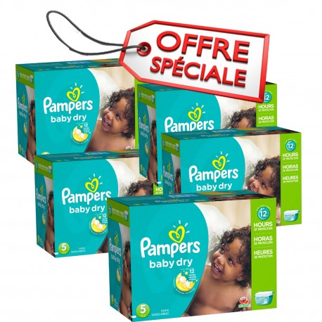 Pack jumeaux 684 Couches Pampers Baby Dry taille 5 sur 123 Couches