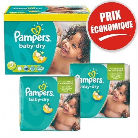 Pack jumeaux 760 Couches Pampers Baby Dry taille 5 sur 123 Couches
