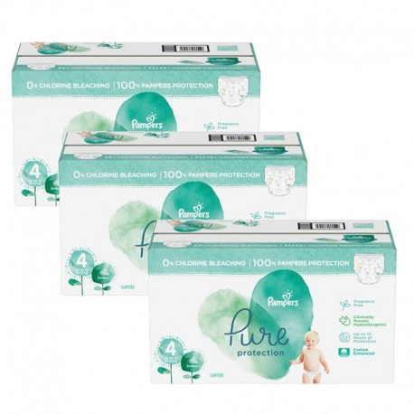 Pack 56 Couches Pampers Pure Protection taille 4 sur 123 Couches