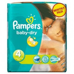 Pack 25 Couches Pampers Baby Dry taille 4 sur 123 Couches