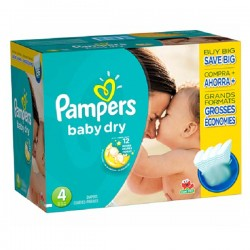Pack 75 Couches Pampers Baby Dry taille 4 sur 123 Couches