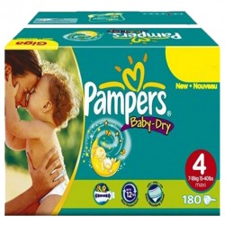 Maxi giga pack 325 Couches Pampers Baby Dry taille 4 sur 123 Couches