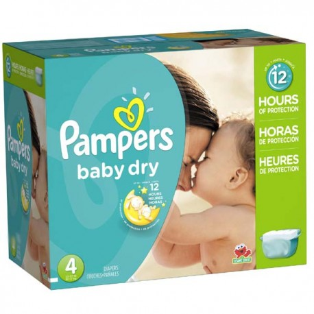Pack jumeaux 500 Couches Pampers Baby Dry taille 4 sur 123 Couches