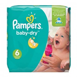 Pack 19 Couches Pampers Baby Dry taille 6