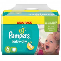 Pack 57 Couches Pampers Baby Dry taille 6