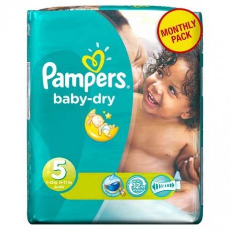 Giga pack 279 Couches Pampers Baby Dry taille 5 sur 123 Couches