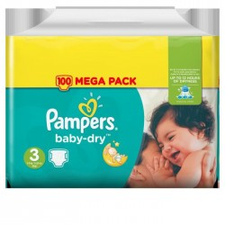 Pack 30 Couches Pampers Baby Dry taille 3 sur 123 Couches