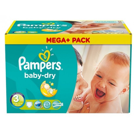 Maxi giga pack 390 Couches Pampers Baby Dry taille 3 sur 123 Couches