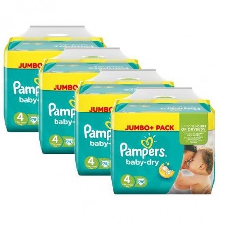 Pack jumeaux 686 Couches Pampers Baby Dry taille 4 sur 123 Couches