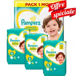 Mega pack 128 Couches Pampers Premium Protection taille 6 sur 123 Couches