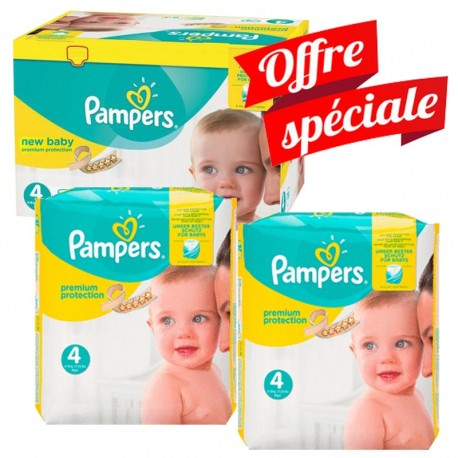 Mega pack 123 Couches Pampers Premium Protection taille 4 sur 123 Couches