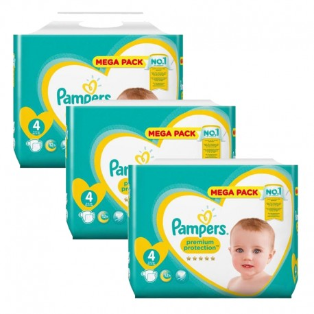 Giga pack 205 Couches Pampers Premium Protection taille 4 sur 123 Couches