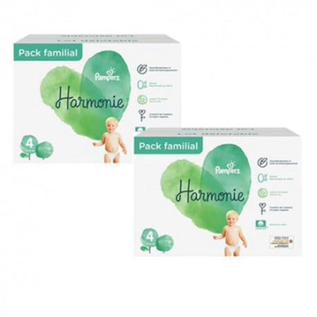 Pack 38 Couches Pampers Harmonie taille 4 sur 123 Couches