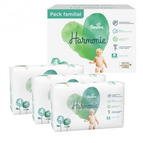 Pack 76 Couches Pampers Harmonie taille 4 sur 123 Couches