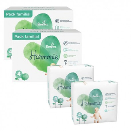 Pack 95 Couches Pampers Harmonie taille 4 sur 123 Couches